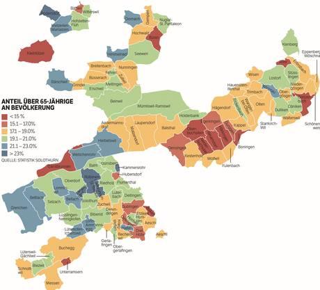 Anteil über 65-Jährige an der Solothurner Bevölkerung