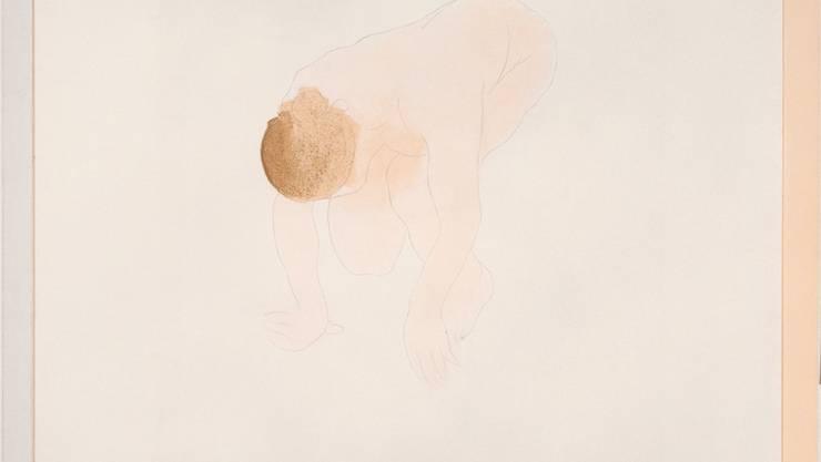 «Gebückter weiblicher Akt mit aufgestützten Händen, vorn übergebeugt, auf dem rechten Beine kniend», Auguste Rodin, 1897. Kreide- und Pinsellithographie, gedruckt von Auguste Clot. Martin P.Bühler/Kunstmuseum Basel