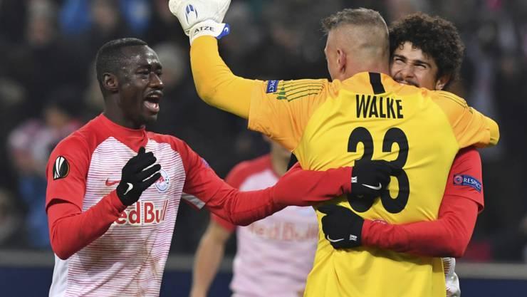Salzburgs Spieler feiern ihren Erfolg gegen Leipzig