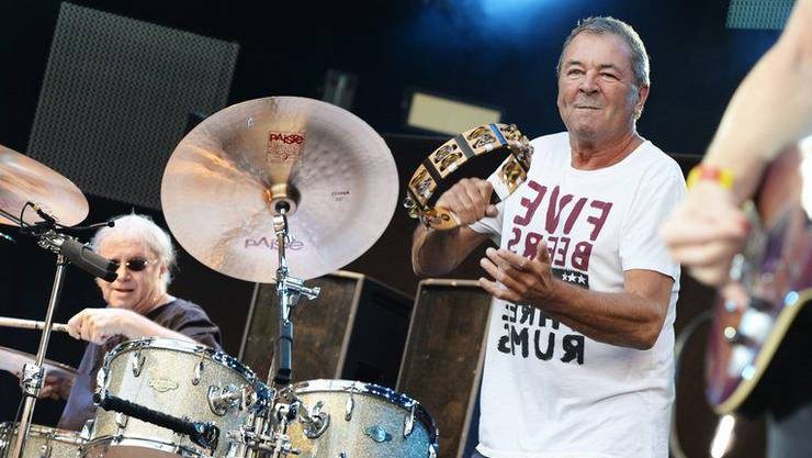 Ian Paice am Schlagzeug (links) und Sänger Ian Gillan (rechts). (Archivbild)