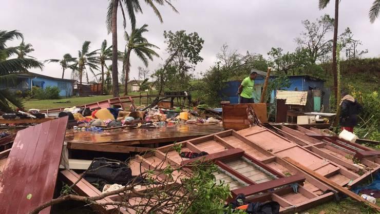 """Vom Sturm """"Winston"""" zerstörtes Haus auf Fidschi (Archiv)"""