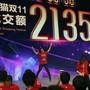 Online-Schnäppchen Jagd: Alibaba Mitarbeiter feiern am 11. November in Shanghai den Rekordumsatz am diesjährigen Single's Day von 213,5 Milliarden RMB, was rund 31 Milliarden Dollar entspricht.