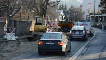 Bauarbeiten an der Birsfeldnerstrasse in Muttenz.
