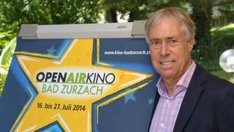 Peter Andres organisiert zusammen mit seiner Frau Brigitte das Openair-Kino 2014 im Kurpark Bad Zurzach.jpg