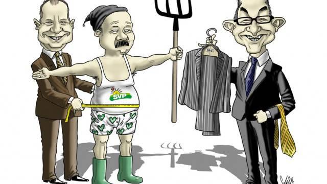 Neue Kleider für die SVP: Thomas Matter (l.) und Gregor Rutz nehmen Mass. Foto: AZ