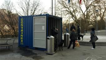 Der Container auf dem Badener Bahnhofplatz wurde im vergangenen Winter von den Gassenleuten rege genutzt.Archiv/HUG