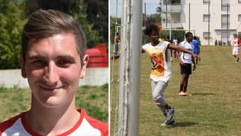 Marc Seitz sagt: «Es kann nicht sein, dass Leute ausgegrenzt oder ausgestossen werden.» Bild rechts: Seitz (hinten, rot-weisses T-Shirt) an einem Fussballnachmittag mit Asylsuchenden in Birr.