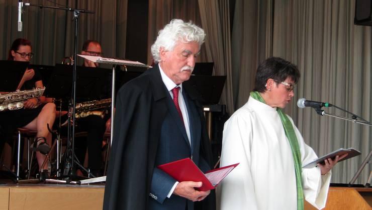 Pfarrer Edi Holliger und Pastoralkreisleiterin Andrea Allemann zelebrieren den ök.Gottesdienst