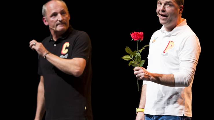 Im Moment hat Peter Pfändler (rechts) nur seine Familie im Kopf: Bühnenpartner Cony Sutter wird das Nachsehen haben (Archiv)