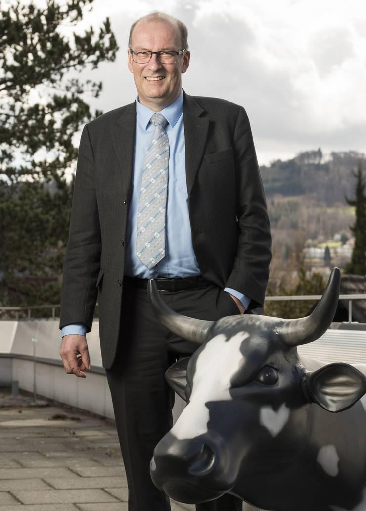 Markus Ritter, Bauernverbandspräsident und Nationalrat CVP, bei Swissmilk, Schweizer Milch in Bern, 5. April 2018.