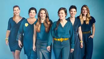 Härz begeistern die Zuhörer mit ihrem geradlinigen Mundartpop. Von links: Nyna Dubois, Cathryn Lehmann, Isabelle Rettenmund, Ai-Yen Cirkvencic, Deborah Seiler, Tabea Vogel.