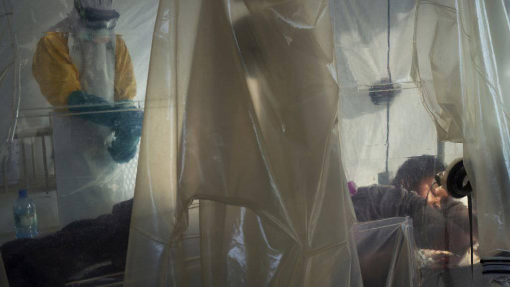 Gesundheitsmitarbeiter bei der Arbeit mit einem Ebola-Patienten Mitte Juli im Kongo. (Archivbild)