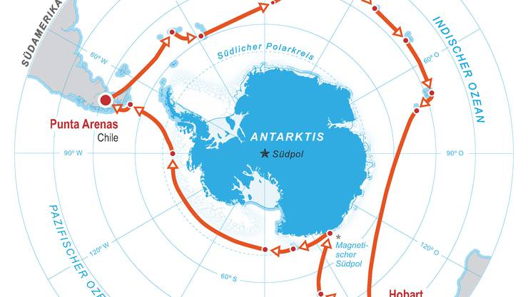 Die Antarktis-Route vom Forschungsteam mit Julia Schmale.