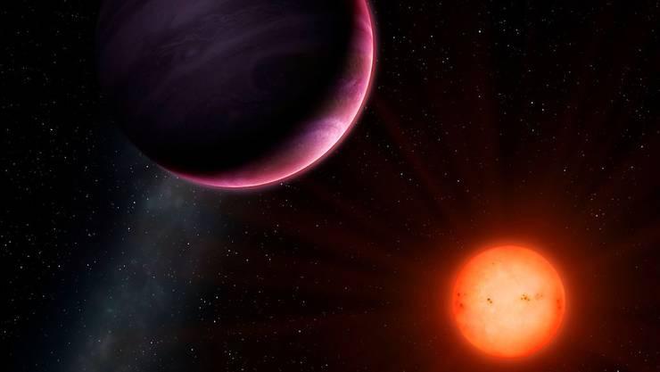 Riese umkreist Zwerg: Der neu entdeckte Exoplanet ist für seinen recht kleinen Zentralstern ungewöhnlich gross.