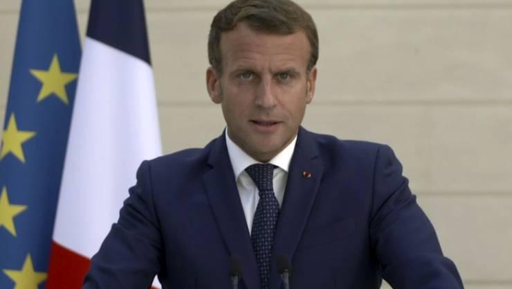 SCREENSHOT - Emmanuel Macron, Präsident von Frankreich, spricht anlässlich des Beginns der UN-Generaldebatte. Foto: Uncredited/UNTV/AP/dpa - ACHTUNG: Nur zur redaktionellen Verwendung im Zusammenhang mit der aktuellen Berichterstattung und nur mit vollständiger Nennung des vorstehenden Credits
