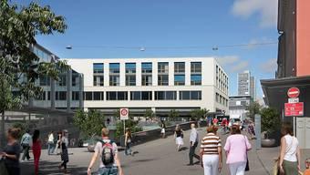 Durch das Erdgeschoss des Neubaus an der Bahnhofstrasse 7 werden künftig die Busse der Achse Bahnhof Ost–Schulhausplatz fahren.