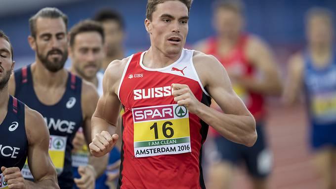 Der Schweizer Top-Zehnkämpfer Jonas Fringeli (Nummer 16) ist zurückgetreten