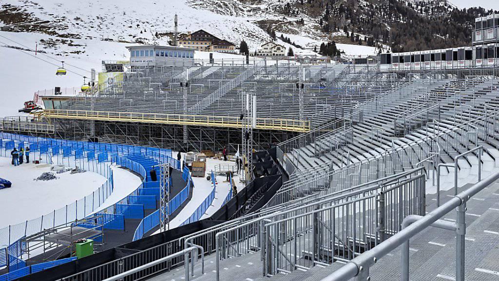 Der Zielraum in Salastrains ist bereit, die Ski-WM kann beginnen