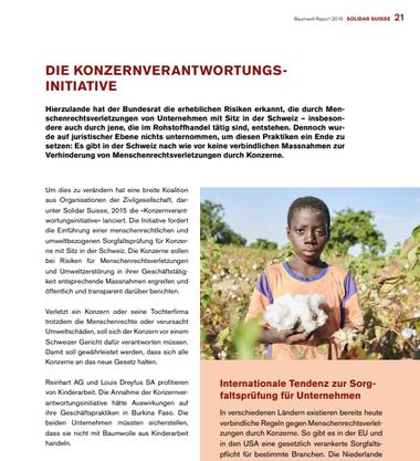 Auf Seite 21 des Berichtes wird die Konzern-Verantwortungs-Initiative thematisiert.