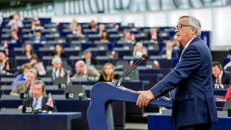 Jean-Claude Juncker spricht zur «Lage der EU». MATHIEU CUGNOT/EPA/KEystone