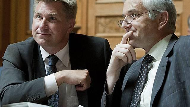SVP-Präsident Toni Brunner (l.) und Fraktionspräsident Caspar Baader