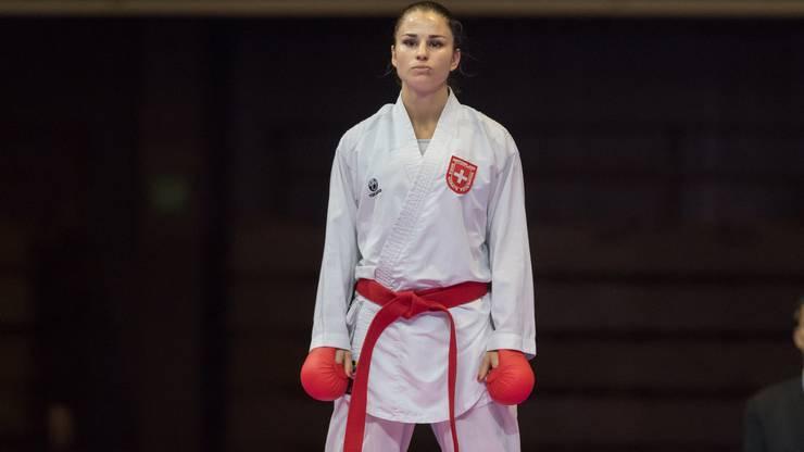 Hoch konzentriert ist Elena Quirici - bevor es gleich los geht.