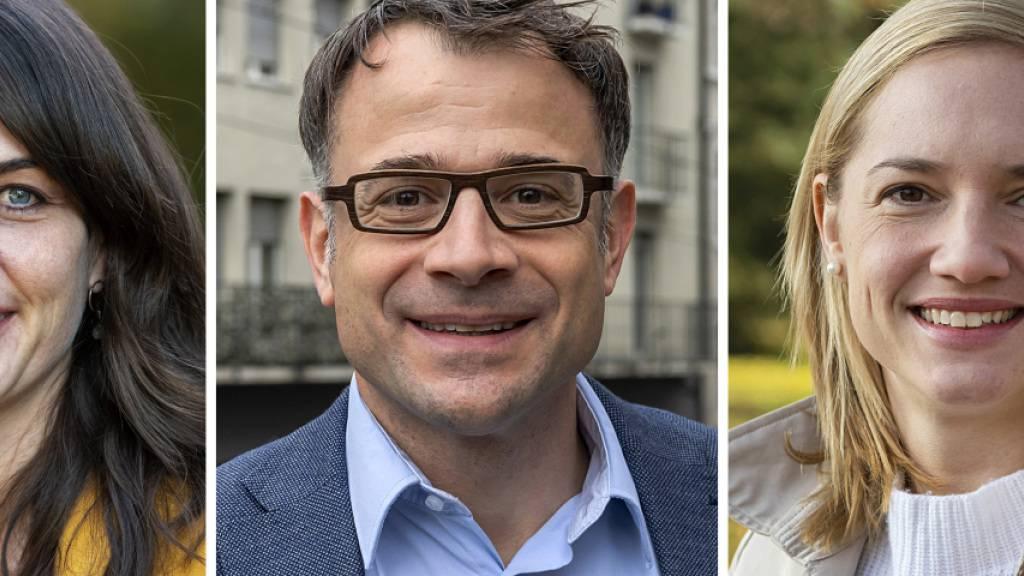 Komplettieren die Basler Regierung: Stephanie Eymann (LDP), Kaspar Sutter (SP) und Esther Keller (GLP).