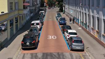 In der Roggenstrasse misst die Stadt Zürich, wie sich unterschiedliche Strassenbeläge auf die Oberflächentemperatur auswirken.