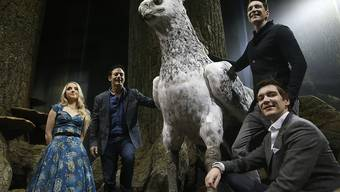 "Evanna Lynch (Luna Lovegood), Jason Isaacs (Draco Malfoys Vater), James und Oliver Phelps (Fred und George Weasley) zu Füssen des Seidenschnabels (Buckbeak) in der neuen ""Harry Potter""-Ausstellung ""The Forbidden Forest"", Teil der Warner Bros Studio Tour ""The Making of Harry Potter"". (Archivbild)"