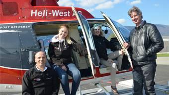 Das Heli-West-Team mit Leidenschaft für Drehflügler. Von rechts: Inhaber Hans Wüthrich, Geschäftsführerin Monika Arbenz, Tochter Seline Arbenz (Administration) und Pilot Rolf Frutschi.