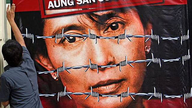 Poster für Aung San Suu Kyi in Jakarta, Indonesien