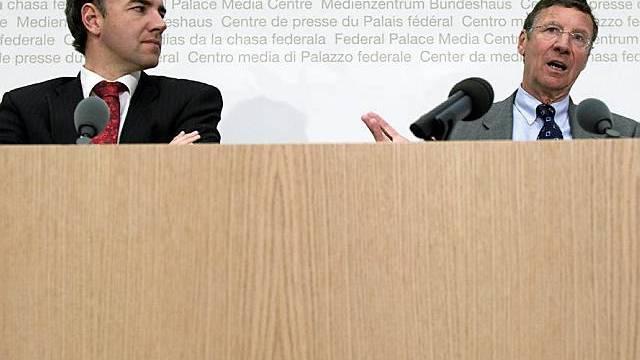 CVP-Parteipräsident Darbellay (l.) und der Thurgauer Ständerat Stähelin
