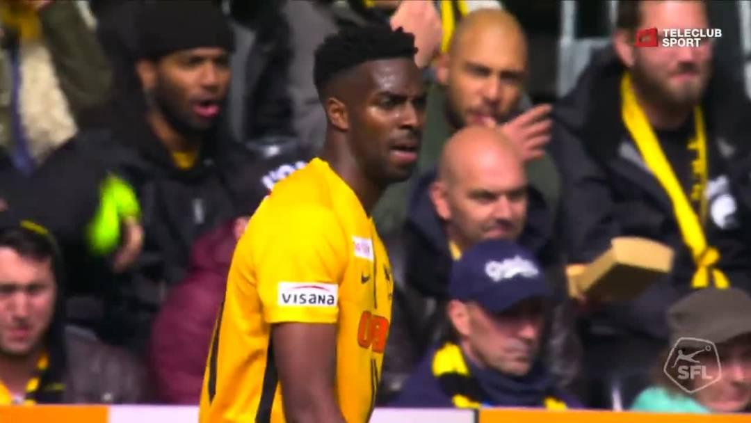 Super League, 2018/19, 33. Runde, YB - FC Basel, 56. Minute: Schuss von Guillaume Hoarau.