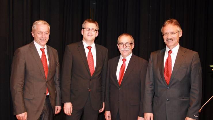 Der neue Verwaltungsrats-Präsident Erwin Schwarb, der neue Vorsitzende der Bankleitung, Marc Jäger, mit den abtretenden Alfons Kainz und Josef Fricker (v.l.).