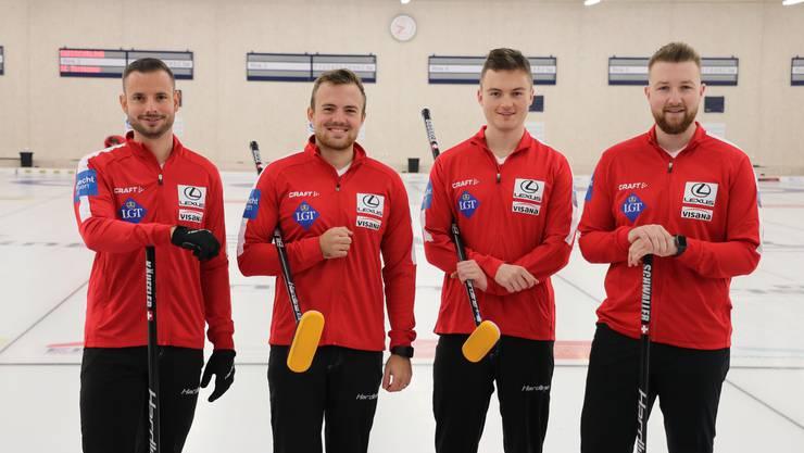 Wollen an der EM in Schweden überzeugen: Das Team Schwaller, bestehend aus Marcel Käufeler, Romano Meier, Michael Brunner und Yannick Schwaller (v.l.).