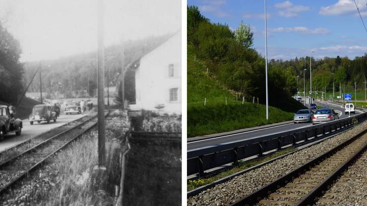 Die Mutschellenstrasse im historischen Vergleich: Verändert haben sich hier vor allem die Verkehrsmittel.
