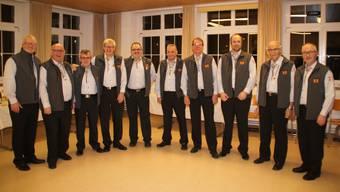 Von links: Urs Hänggi (1. Zunftrat), Ewald Frey (2. Zunftrat), Ruedi Berger (Säckelmeister), Roland Rötheli (Verkündmeister), Joe Mauron (Stubenmeister), Heinz Aebi (Zeugwart), Bernd Meyer (Chronist), Florian Frey (Stubenschreiber), René Arlati (Zunfthüsliwart) und Beat Büchler (Webmaster)
