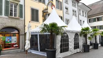 Das Zelt vor dem Kreuz: Eine wertvolle Stütze für das Restaurant angesichts der geltenden Abstandsregeln.