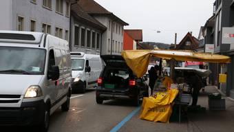 Der Fasnachtsmarkt in Frick wurde wegen des stürmischen Wetters abgesagt.
