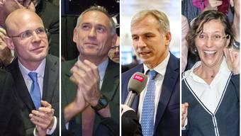 Baschi Dürr (FDP), Hans-Peter Wessels (SP), Lorenz Nägelin (SVP) und Heidi Mück (Basta)