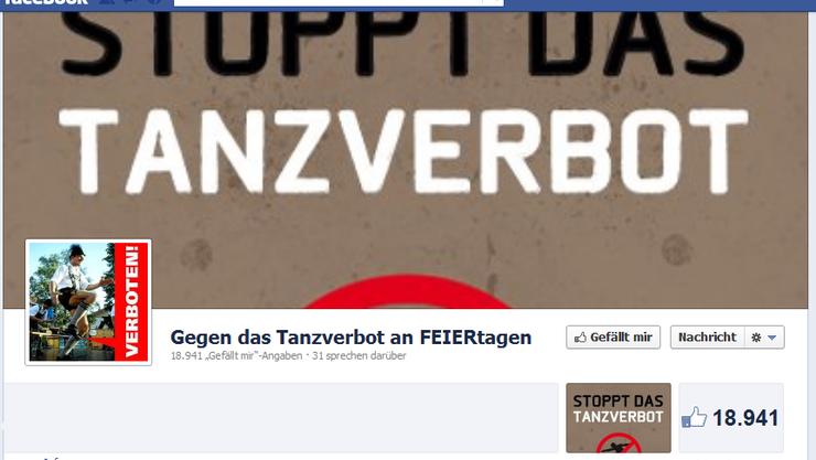 Die Facebook-User kämpften gegen das Tanzverbot
