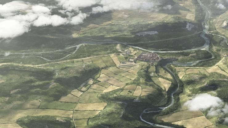 Rekonstruktion von Vindonissa im späten 1. Jahrhundert eingebettet in die heutige Region Brugg/Windisch.