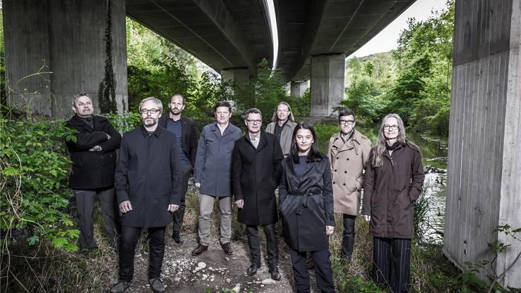 Die Gruppe «Bibergeil»(von links): Rainer Zulauf, Rolf Meier, Martin Leder, Thomas Schneider, Beat Schneider, Lukas Zumsteg, Daniela Valentini, Andreas Graf, Peggy Liechti.