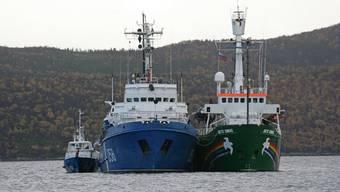 Die «Arctic Sunrise» neben einem russischen Küstenwache-Boot