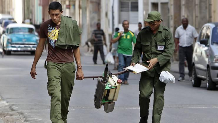 Kubanische Soldaten bekämpfen in Havanna die Ausbreitung der Zika-Virus-Überträgermücke Aedes Aegypti.