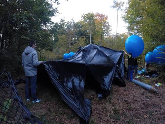 Die Folie und die Heliumballons