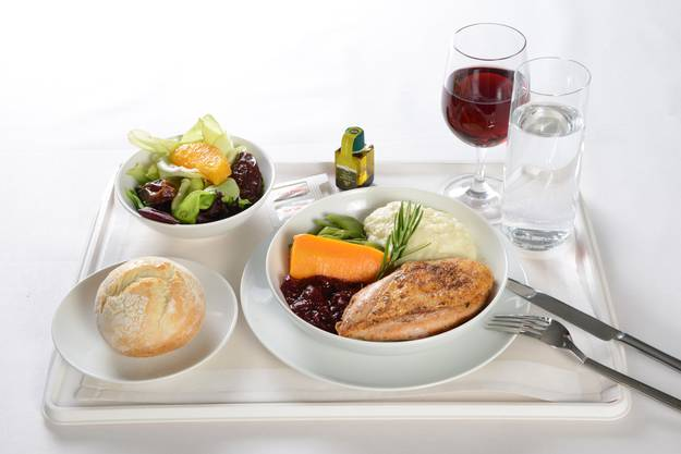 Hauptspeise Business Class So wird das Menü im Flugzeug serviert