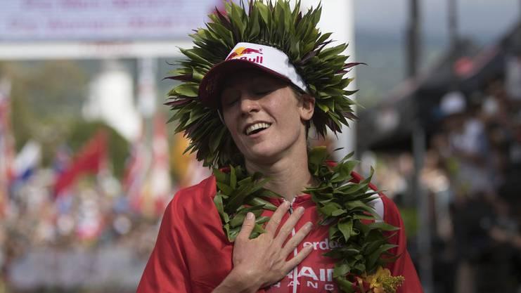 Nach dem Ironman-Sieg die Erleichterung: Daniela Ryf.