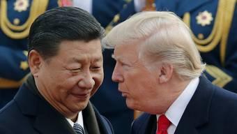 Die Chinesen tragen ihre Bewunderung für Trump nach wie vor stolz zur Schau. Im Bild: Die Präsidenten Xi Jinping und Donald Trump