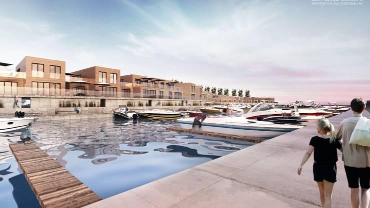 Die Staader Wasserstadt von der Hafenmole aus gesehen